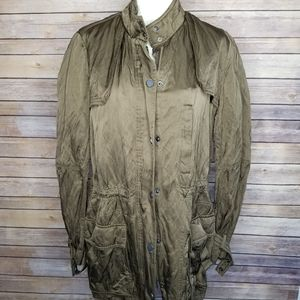 Vince Oversize Long Tunic Military Jacket Olive